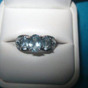 14K White Gold 3 stone Aquamarine Ring